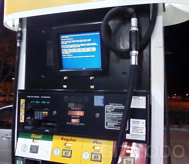 Gas Pump Blue Screen of Death is Poo Poo Inducing