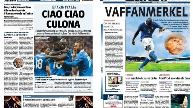 Italy Beats Germany In Soccer, Vulgar Newspaper Headlines