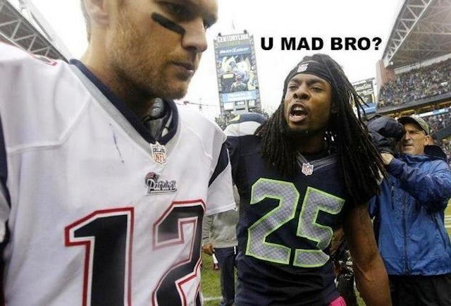 "Seahawks DB Richard Sherman Intercepts Tom Brady, Snickers At Him With ""U Mad Bro?"" Picture On Twitter After The Game"