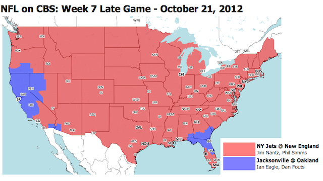 Which TV Market Is Getting Screwed This Sunday? An Analysis Of NFL Viewing Maps