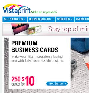 Vistaprint business card stock options