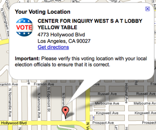 Google Maps Tells You Where to Vote