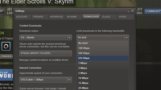 Steam's Latest Beta Lets You Limit Your Download Speed