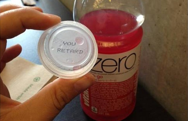 "Family Outraged After Finding ""You Retard"" Under VitaminWater Cap"