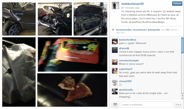 Here's What Nate Burleson's Car (And Pizza) Looked Like After His Wreck
