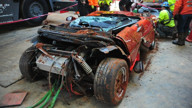 This Is What Falling Into A Sinkhole Does To A Corvette