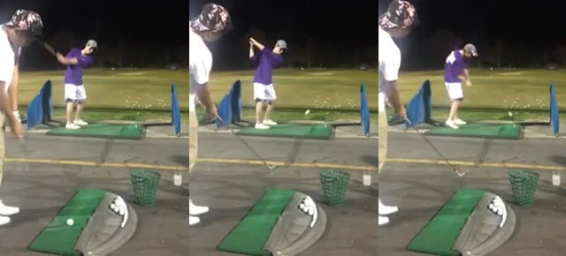 This two person golf trick shot is unbelievable