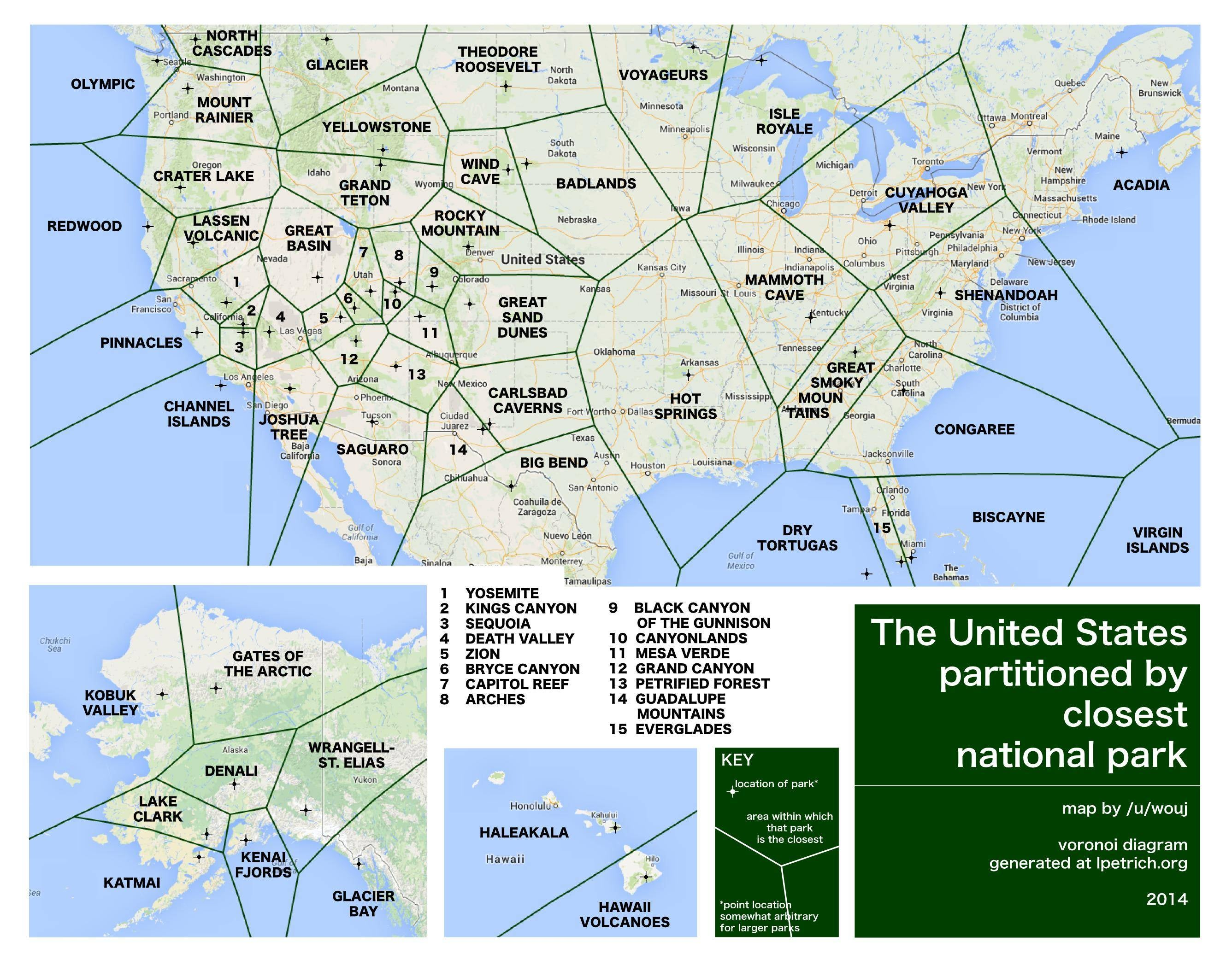 the sierra club shared this handy map of the us partitioned by closest national park