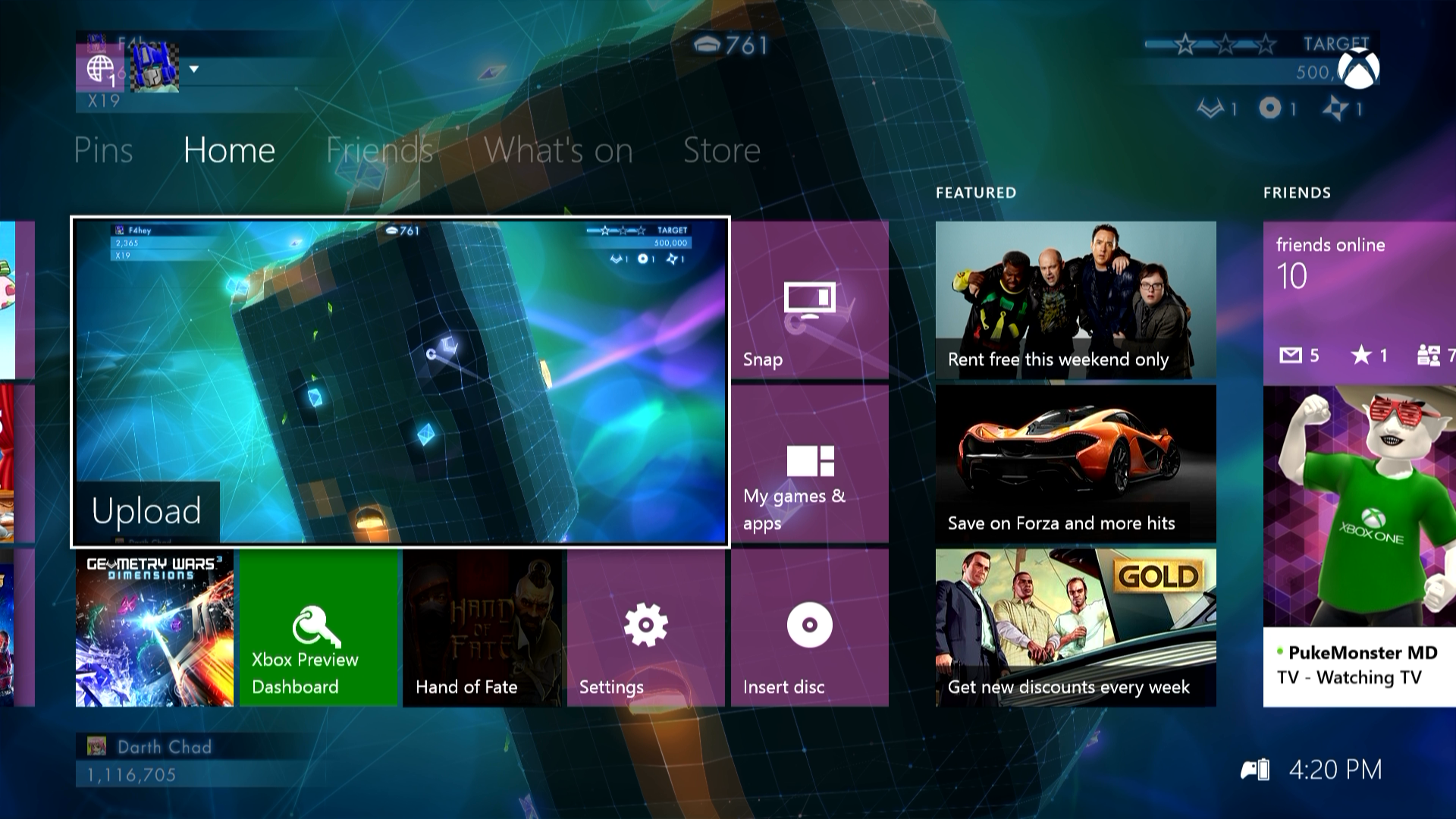 Xbox One Dashboard Wallpaper From my Xbox One Dashboard