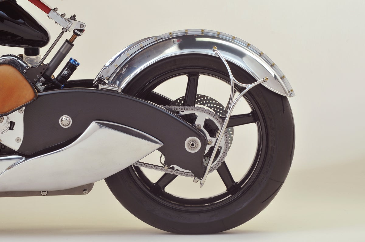 rear wheel, fender and suspension on the Bienville Legacy