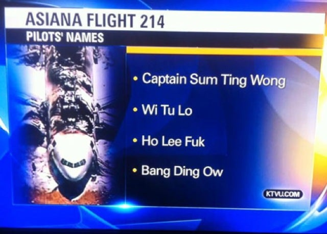 "Terrible NTSB Intern Blamed for KTVU's ""Ho Lee Fuk"" Blunder"