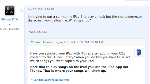 """How do I insert a CD to the iPad 2?"""