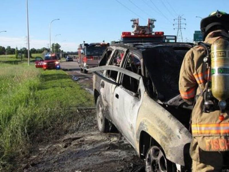 Hero National Guardsman Bends Door To Rescue Man From Burning SUV
