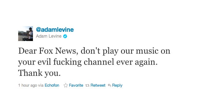 Adam Levine Kindly Asks Fox News To Never Play His Band's Music Again
