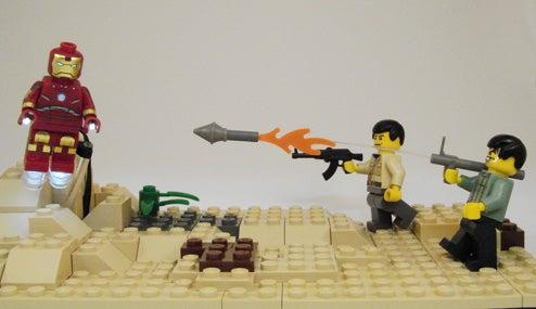 LED LEGO Iron Man Minifig Explodes With Boozy Charm, RPG Rounds