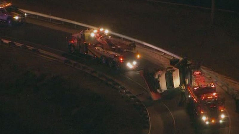 Salt Spreader Truck Tips Over, Leaving Road Scarred And Savory