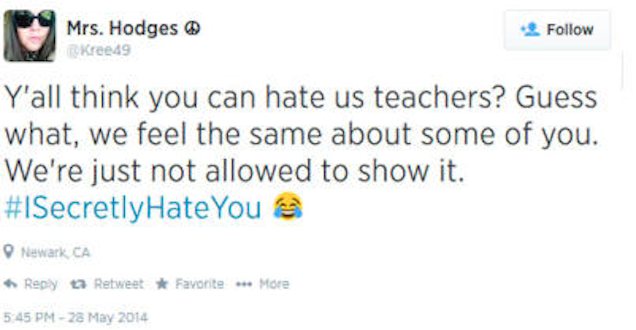 "Racist Teacher Tweets ""Wanna Stab Some Kids,"" Keeps Job"