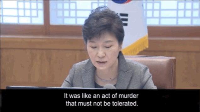 Gyilkosságnak nevezte a dél-koreai elnök a kompkatasztrófát