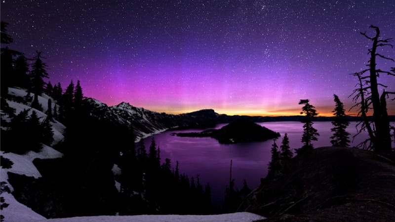 Breathtaking Photo of a Pink Aurora from this Weekend's Solar Storm