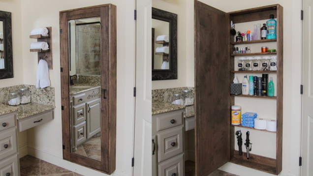 With Full Length Wall Mirror Storage : ... storage space behind a full-length mirror in an attractive wooden