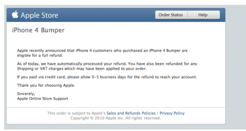 Apple Begins Processing Refunds For iPhone 4 Bumpers