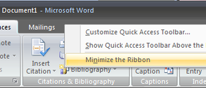 Double-Click a Tab to Shrink Microsoft Office's Ribbon Toolbar