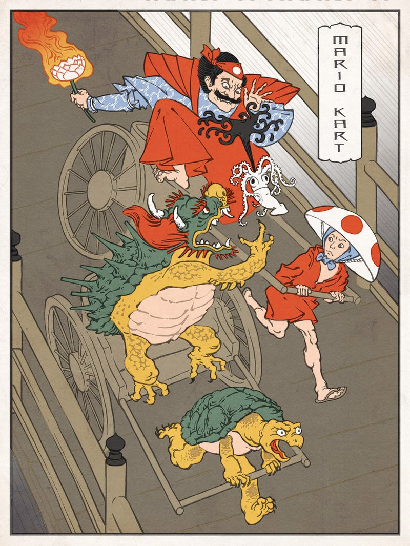 Modern Video Game Heroes as Traditional Japanese Paintings