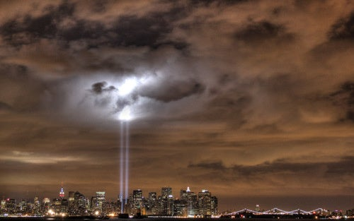 10,000 Birds Trapped In the World Trade Center Light Beams