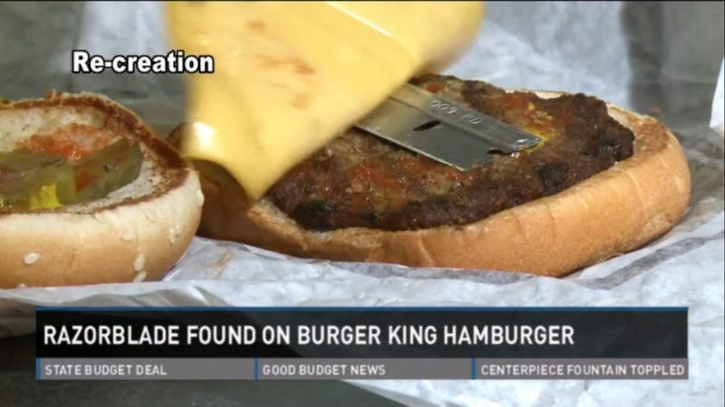 Woman Bites Into Burger King Burger, Finds Razor Blade