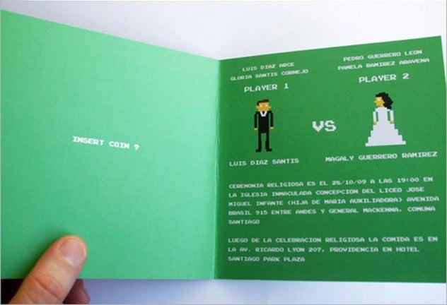 8-Bit Wedding Invitation Acknowledges the Marital Bickering to Come