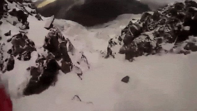 Ice climber impossibly survives a punishing fall from ice wall