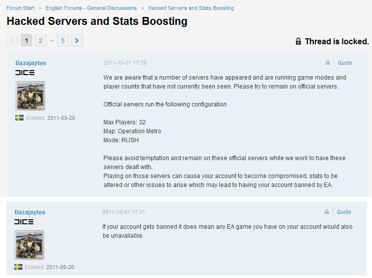 Origin Account Bans Threatened for Playing on Modded Battlefield 3 Beta Servers