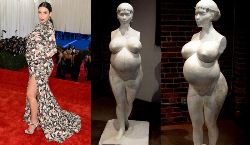 Nude Pregnant Kim Kardashian Statue Unveiled by Infamous Artist