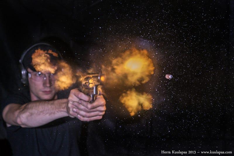 High-speed photos turn violent gun explosions into delicate stills