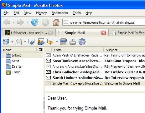 Simple Mail In-Firefox Email Client