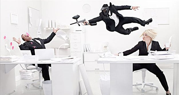 Amazing 'Paintball Office' Photo Created Using Planning, Photoshop, and Magic