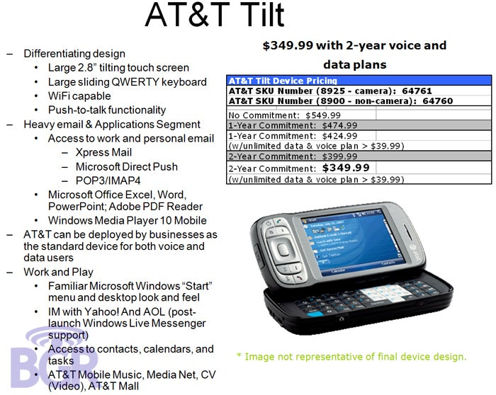 AT&T Tilt Gets Further Specs, Price, Launch Frame