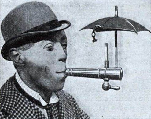 Cigarette Umbrella Keeps Tobacco Torch Dry
