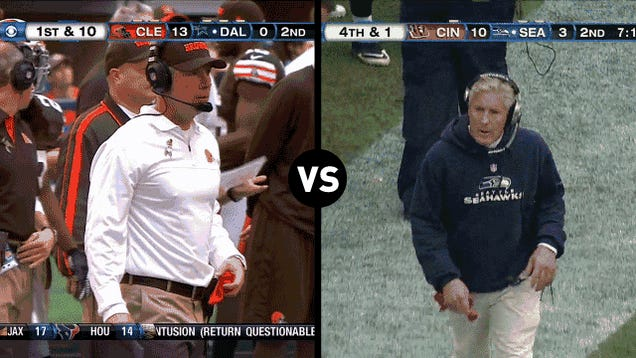 Who Has The Funnier Challenge-Flag-Throwing Motion, Pat Shurmur Or Pete Carroll?