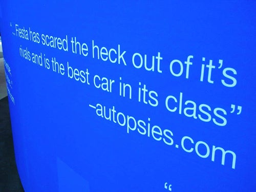 "Ford Quotes ""Autopsies.com"" In Fiesta Display"