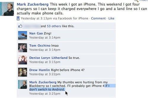 Mark Zuckerberg Joins iPhone Bitchfest