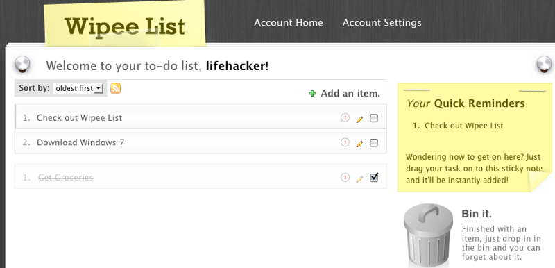 Wipee List Is a Simple, Attractive Web-Based To-Do List