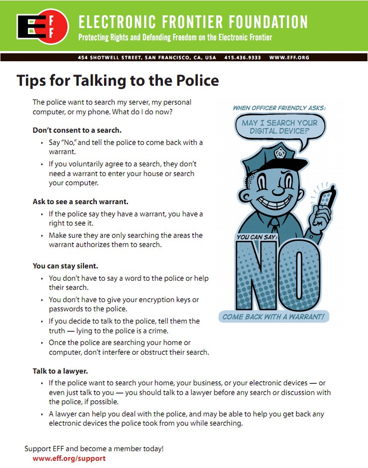 Your Cheatsheet for Talking to the Police