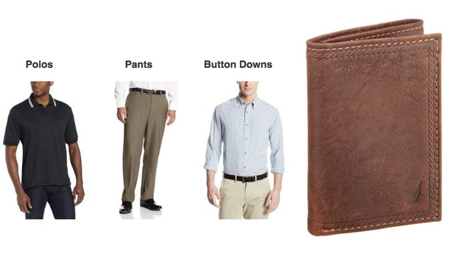 Men's Clothing and Accessory Gold Box, $1 Credit Card Knife, Pegboard