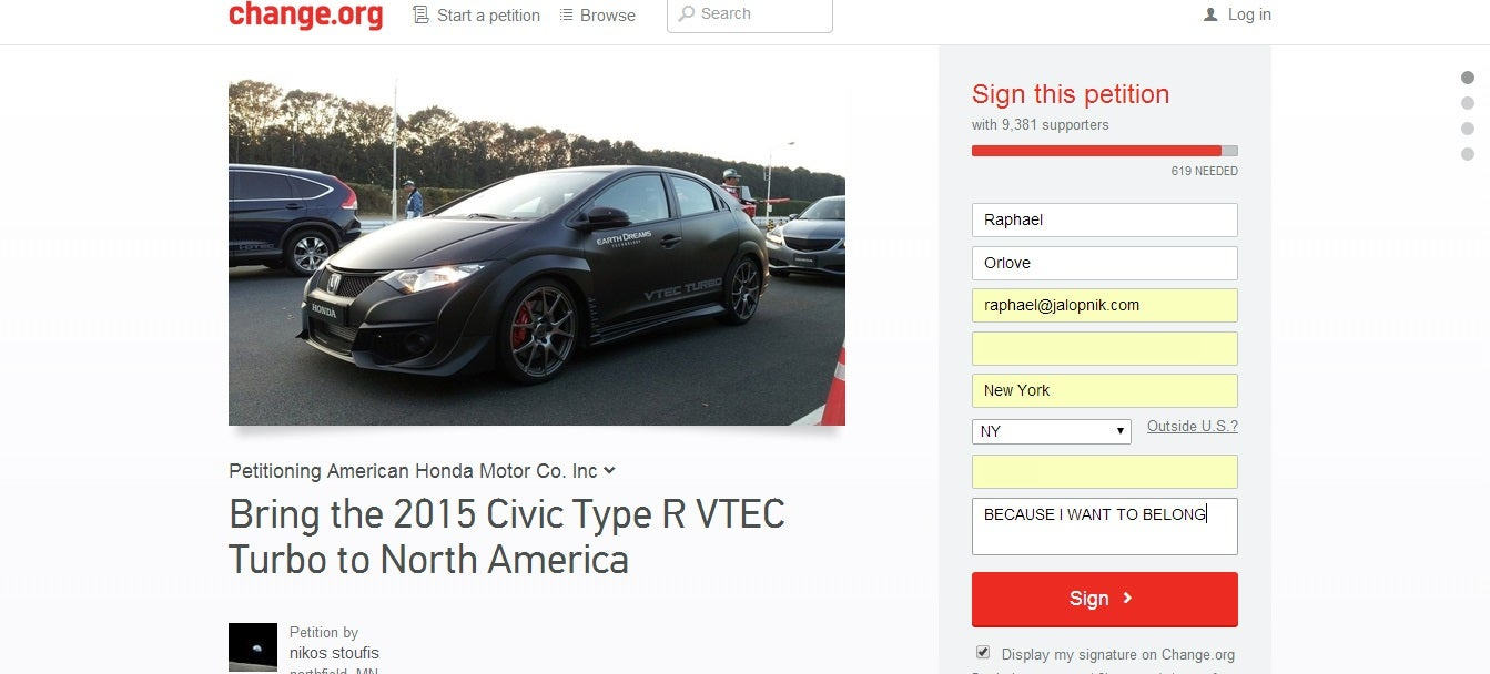 This Honda Type R Import Petition Is Pointless But I Signed It Anyway