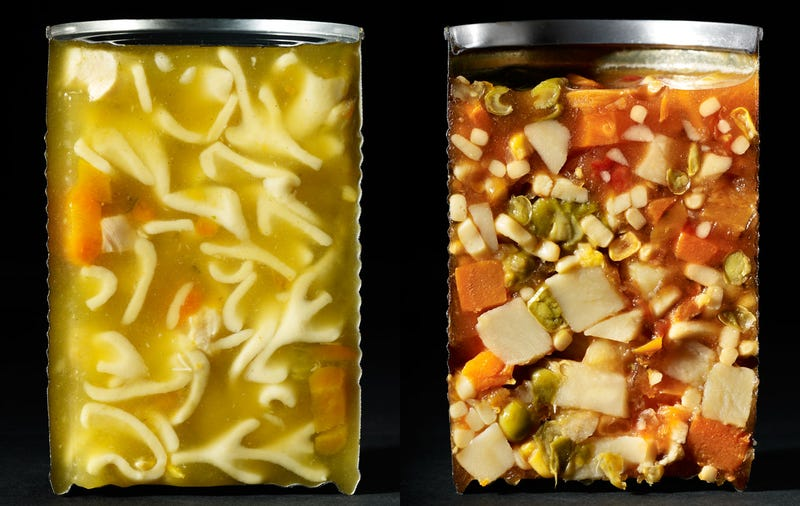 Photographs of foodstuff and beverages cut in half