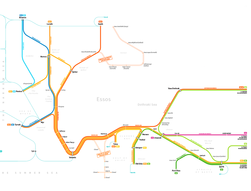 Let's Irrationally Obsess Over This Transit System Map of Westeros