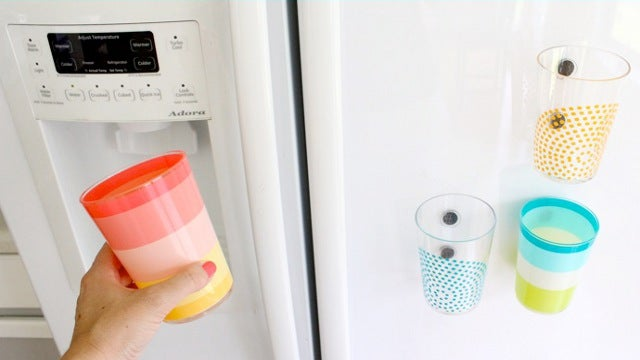 Attach Magnets to Plastic Cups