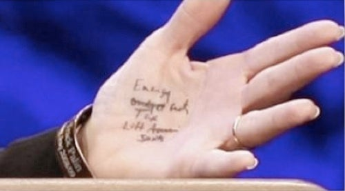 Sarah Palin Logic: Teleprompters Are Bad, But Writing Notes On Your Hand Is A-OK