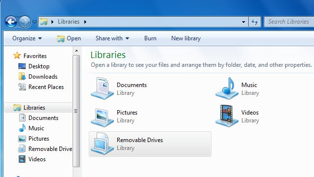 Add Unsupported Removable Drives to Windows 7's Libraries